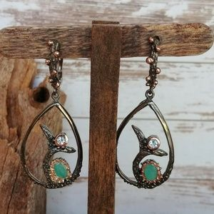 Jewelry - Artisan Emerald Dolphin Play Earrings